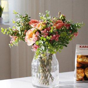 الديكور الفاوانيا الاصطناعي الزهور الأوكالبتوس جيبسوفيلا الهجين باقة الحرير وهمية الزهور حفل زفاف الرئيسية زهرة اليد الزفاف