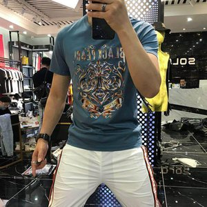 2020 summer new European station fashion brand gradient color printing hot diamond short-sleeved personality trend half-sleeved t-shirt men'