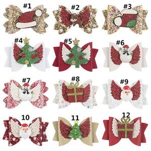 3 Inch Girls Hair Clips Christmas Tree Bow Elk Sequins Santa Claus Gift Box Hat Barrettes Hairbow Hairpin Hair Head Accessories