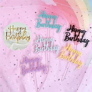 New 1pcs Camada Feliz Aniversário doce cor Letra dobro Bolo Topper para festa de aniversário do 1º bolo Decorações Baby Shower Supplies