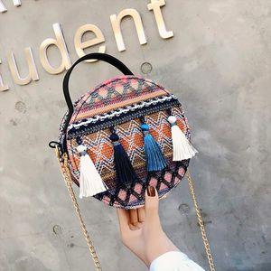 Shoulder Bag Women Ins super fire national wind portable small round bag tassel packet Female Fashion Versatile Bags 2020