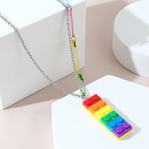Handmade Plastic Rainbow Building Blocks Necklace Pin Paper Clip Pendant Key Necklaces Jewelry