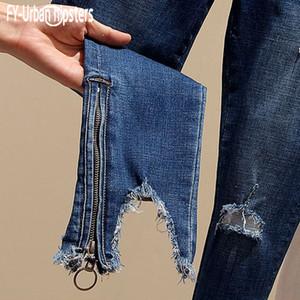 FY-urbain Hipster bleu longueur cheville pour les femmes Neuf Pantalons irrégulière trou jambe Zipper Slim élastique Jeans Femme