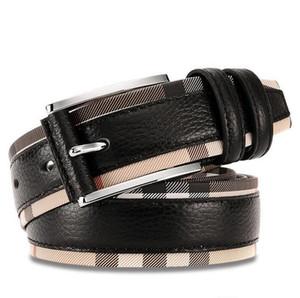 Neuer Luxus-echter Ledergürtel für Männer und Frauen arbeiten Dornschliesse Plaid Gürtel Qualitätsrind Designer Gürtel