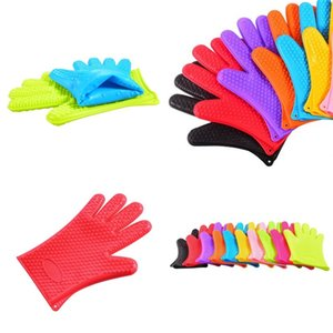 Silicone Five Fingers Glove Baking Barbecue Thickening Heat Resistant Microwave Oven Anti Scalding Gloves Food Grade 4 38xh F2