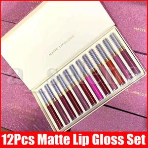 Новый макияж губ Set 12pcs Matte Liquid Lipstick 12 цветов Набор Блестящий блеск для губ блеск для губ губы Kit