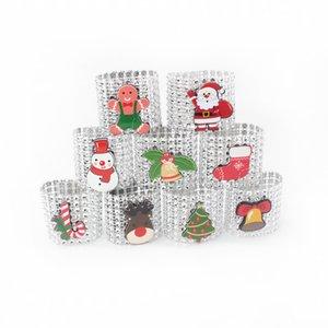Christmas Plastic Napkin Ring Christmas Rhinestone Wrap Santa Claus Chair Buckle Hotel Wedding Supplies Home Xmas Table Decoration BC BH4244