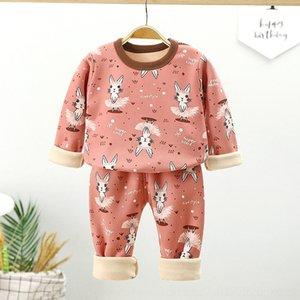 DRHI HUMOR BEAR ENFANTS039; S COTTON Vêtements confortables Automne Nouveau Vêtements Children039; S Baby Home Pure Casual Vêtements Pantalons Pajamas Deux-P