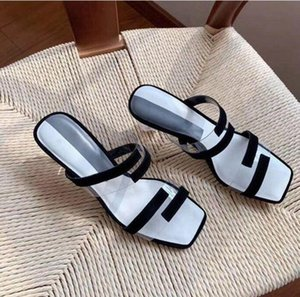 Classic High heeled sandals Coarse heel leather luxury Designer Suede woman shoes for parties Occupation Sexy sandals 5CM with box