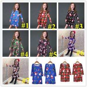 Baby Girs Dresses Autumn Winter Children Christmas Skirt Santa Claus Snowman Penguin Elk Bear Cute Printed Xmas Dress E101903