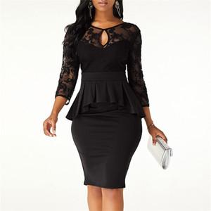 Кружевное платье Элегантные дамы Ruffled Hollow Out Вечернее Платье для вечеринки Prom Pressing Осенние Женщины Тонкий Карандаш Формальное платье Vestidos T200519