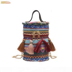 Women Fashion Messenger Bag Shoulder Bag Fashion Drum Bag Vintage Cotton Fabric Fringed Casual Bolsa Feminina*10