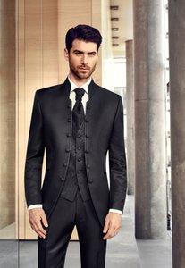 Melhor Moda Preto mandarim lapela Six Botão Men 3 pedaço terno do casamento roupa smoking Noivo Smoking Homens Jantar Prom (jaqueta + calça + gravata + Vest) 8