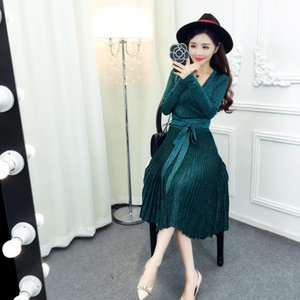Hot Sale Brand fashion women's high-end luxury temperament sexy V-neck silver knitted long-sleeved dress