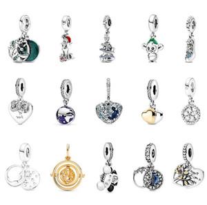 925 Sterling Silver Angel Wing Silver Dangle Bead con un verdadero corazón 14k encaja Pandora Estilo Joyería Charm Pulseras Collares