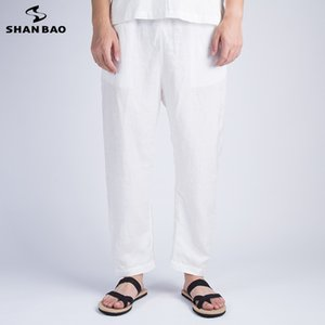 Shan Bao Brand High-quality Custom Fabric Cotton and Linen Straight Casual Pants 2020 Autumn Chinese Style Men's Loose Trousers