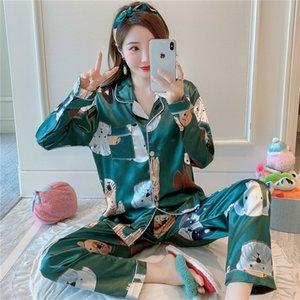 Pigro stile 2020 wavmit manica pigiama di seta 2 pezzi sleepwear sexy nightwear per donna pigiama set lungo pantaloni