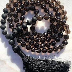 8mm Black Stone geknotete Japa Mala Halskette 108 Gebetskette 8mm Lava Smokey Q-uartz Mala Perlen Halskette