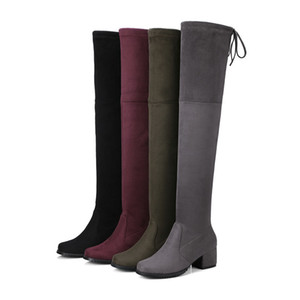 Over the knee boots for women fashion Faux Suede stretch long boots med heels shoes 4.5cm womens boots big size 34-43210