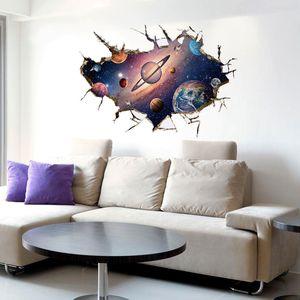 Simanfei Space Galaxy Planets Наклейка на стену 2019 Водонепроницаемая виниловая роспись наклейки наклейка Universe Star Wall Paper Kids Room Украсить LJ201128