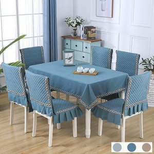 Simple Solid 13pcs Set Table Cloth Set With Chair Covers Elegant Cushion Home Banquet Decor Nordic Plaid Rectangular Tablecloth1