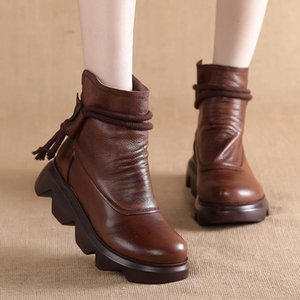 Autumn winter 2020 hand made leather short boots for women round head heel zipper thick bottom slope heel boots