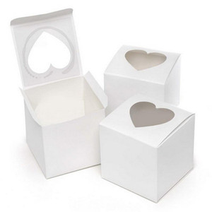 Cake Gift Favour Boxes PVC Window Cupcake Box White Glossy Heart-shaped Window for Valentine Day Wedding WQ597