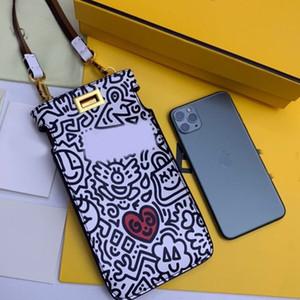Teléfono móvil del bolso Monederos señora del monedero del cuero auténtico ganado Ocultar Graffiti Classic Mini Lock doble tejido color de la correa de la correa de hombro del cerrojo