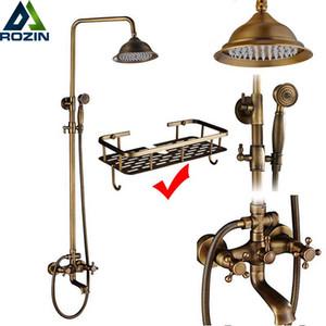 Rozin ottone antique bagno doccia rubinetto set da parete aderente doppio maniglia con doccetta + scaffale in ottone bagno doccia miscelatore 201105