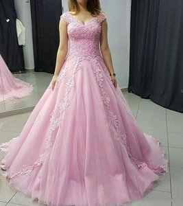 Custom Quinceanera Dresses Pink Off Shoulder Lace Prom Dresses Beaded Applqiues Sweep Train Lace Up Formal Evening Party Gowns