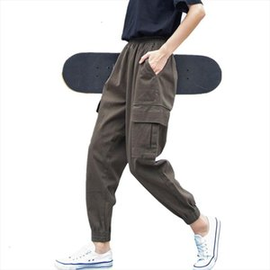 Plus Size 5xl Cargo Pants For Women Solid Loose Big Pockets Sweatpants Casual Bf Ankle length Trousers Female Pant P8800