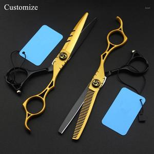 Personalice Japón 440c 6 pulgadas oro hueco peluquero tijeras cortando barbero makas tijeras adelgazamiento cizallas peluquería tijeras1