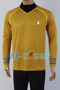 Wholesale Star Trek Into Darkness Captain Kirk Shirt Uniform Cosplay Costume Yellow Version Size XS XXXXL i3J4#