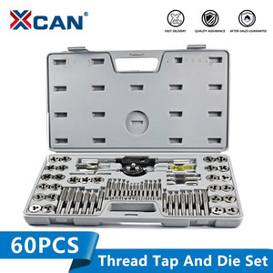 XCAN 60pcs Screw Tap Set Hand Tap Wrench Die Plug Drill Bit Threading Tools Metric and Die Set