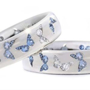 Meilleure vente bijoux exquis billets de papillon ensemble de couleur mixte zircon anneau personnalité mignon vent sonnerie ventes directes