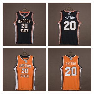 Homens s NCAA costume Basketball Jerseys # 20 Gary Payton Oregon State Beavers bordado College Basketball veste preto Tamanho S-6XL