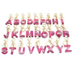 Brief Schlüsselanhänger 26 englisches Wort Glitter Resin Handtasche Anhänger für Frau a bis z Keyrings Auto-Schlüsselring netten Party-Geschenke FWD2182