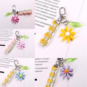 X5p link heels ins wind Small fresh shoe key hyunachain rhinestone Creative custom daisy crystal cute chain metal keychain Fashion car key