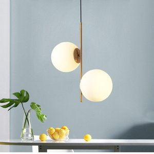 Nordic Simple Sphere Chandelier Modern Creative Art Personality Table Bedroom Bar 2 Ligths Led Pendant Lamp Frosted Glass