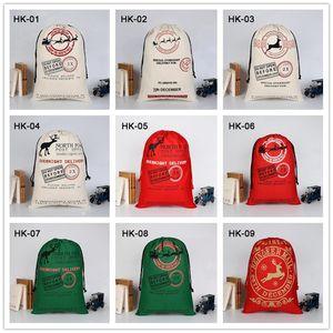 Weihnachten Sants Tasche Leinwand Candy Bag für Kinder Geschenk Santa Claus Bag Weihnachtsgeschenk Bags 38 Arten Ahe2694