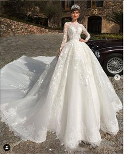 Country Ball Gown Long Sleeve Muslim Wedding Dresses Lace Applique Organza Vintage Wedding Dress Bridal Gowns 2021 Vestidos De Novia