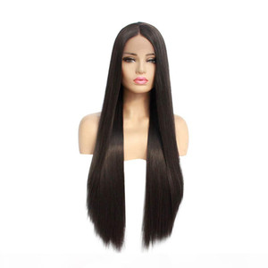 Natural Black Long Straight Synthetic Lace Front Wigs for Black Women Heat Resistant Glueless Full Lace Wigs with Baby Hair Middle Part