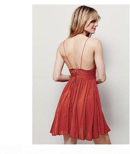 Holiday style Super Deep V Open back dress Sweet style Chiffon harness dress Fashion dress Gorgeous color Skirt Free shipping vestido