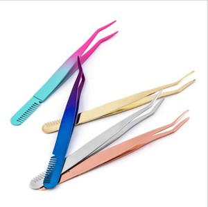 Tweezers Eyelash Extension Pinzas Use Pestañas Falsas Herramienta Tabla de placas Punto de punta fina Pinza Tweeer Comb Cepillo Gadget WMQ372