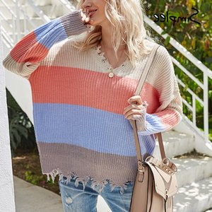 Simplee autumn winter 2020 knitted women harajuku raw high fashion patchwork pullover sweater plus size pullove jumper
