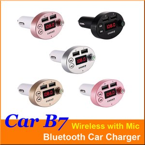 CAR B7 Multifunction Bluetooth Transmitter 3.1A Dual USB Car charger FM MP3 Player Car Kit Support TF Card Handsfree + retail box Cheapest