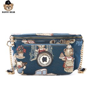 Danny Series Bear Crossbody Bag Mulheres tecido estampado Moda Bolsa de Ombro DMB9115148