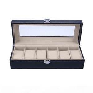2018 High Quality 6 Slots Wrist Watch Display Box Jewelry Storage Organizer With Cover Watch Case Jewelry Display Box