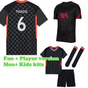 Player version Third Black soccer jersey Men+ Kids New 2020-21 Thai Quality football Jersey football Kit Long sleeve Football shirt