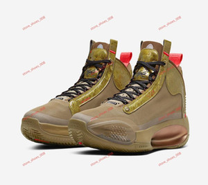 2020 New DS AJ34 PE Bayou Boy Zion Williamson Brown Gold Basketball Shoes 2020 Jumpman XXXIV Men's Sneakers, Frame No. 7-12